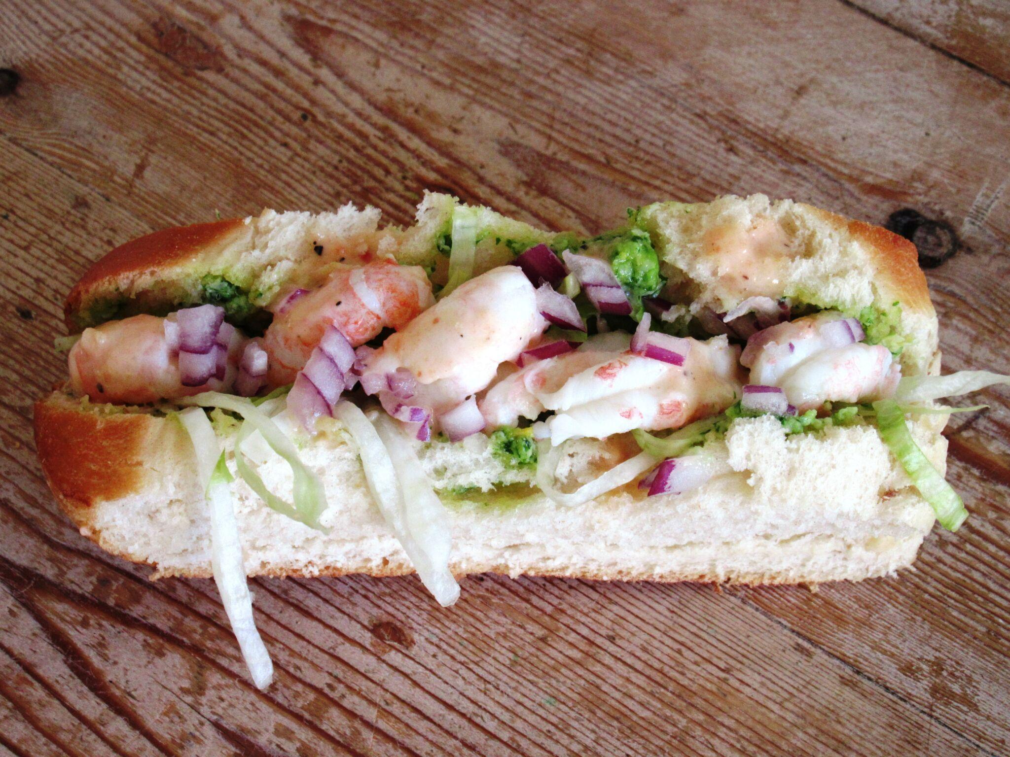 sandwich med skaldyr